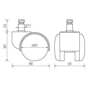 Plastični točkić 50mm dimenzije