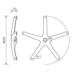 Plastična baza-zvezda za kancelarijsku stolicu fotelju 630mm dimenzije