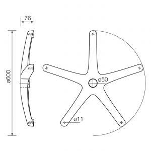 Plastična baza-zvezda za kancelarijsku stolicu 600mm dimenzije