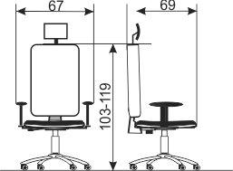 Ergonomska radna stolica ES135 dimenzije