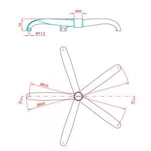 Metalna hromirana baza-zvezda za kancelarijsku stolicu-fotelju dimenzije