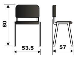 Konferencijska stolica KS2D iso dimenzije
