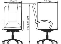 Radna fotelja RF500 dimenzije