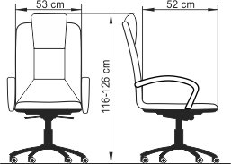 Radna fotelja RF500 lux dimenzije