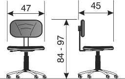 Namenska laboratorijska stolica NS5 dimenzije