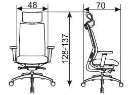 Ergonomska stolica Ergo Medic 100-4 Wagner dimenzije