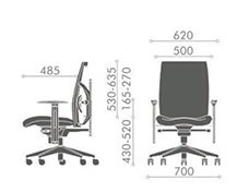 Ergnomska radna stolica ES110 Exact dimenzije