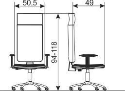 Kancelarijska radna stolica RS86G dimenzije