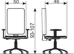 Kancelarijska radna stolica RS98 dimenzije