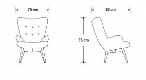 Klub fotelja KFE01 dimenzije
