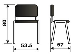 Konferencijska stolica KS2N dimenzije