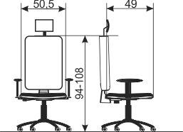 Radna stolica RS83G dimenzije