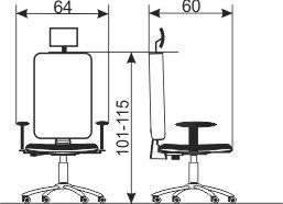 Radna stolica RS93G dimenzije