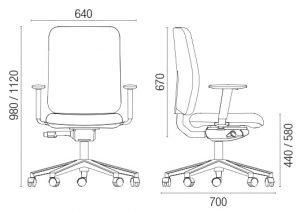 Radna stolica RS 82RT dimenzije
